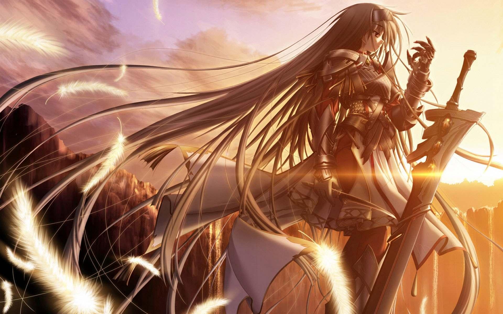 Аниме девушка с большим мечом